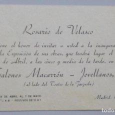 Arte: ROSARIO DE VELASCO // TARJETA INVITACIÓN EXPOSICIÓN // 1943 // SALONES MACARRON // MADRID. Lote 119690499