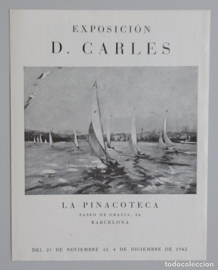 DOMÉNECH CARLES // INVITACIÓN CATÁLOGO EXPOSICIÓN // 1942 // LA PINACOTECA // BARCELONA (Arte - Catálogos)