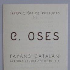 Arte: CARMEN OSES // INVITACIÓN CATÁLOGO EXPOSICIÓN // 1942 // FAYANS CATALÁN // PINTURAS. Lote 119691895