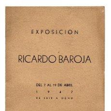 Arte: RICARDO BAROJA, DÍPTICO-CATÁLOGO EXPOSICIÓN EN SALONES MACARRÓN, MADRID, 1947. Lote 123292279