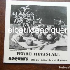 Art: CATALOGO DE EXPOSICION DE FERRE REVASCALL. REUS 1975. Lote 124882579