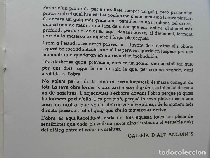 Arte: Catalogo de exposicion de Ferre Revascall. Reus 1975 - Foto 2 - 124882579