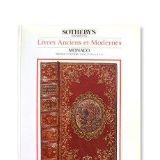 Arte: CATÁLOGO CASA DE SUBASTAS ''SOTHEBY'S'' - 12 DICIEMBRE 1984 - LIVRES ANCIENS ET MODERNES - MONACO. Lote 129135511