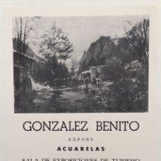 Arte: CATALOGO ACUARELAS GONZÁLEZ BENITO - SALA DE EXPOSICIONES DE TURISMO - SANTANDER (CANTABRIA) 1985. Lote 130283928