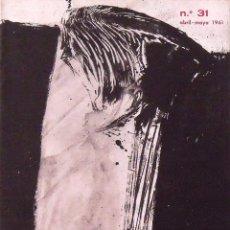Arte: CORREO DE LAS ARTES. REVISTA Nº 31. ABRIL-MAYO 1961. PORTADA DE RAFAEL CANOGAR. GALERÍA RENÉ METRAS.. Lote 131429458