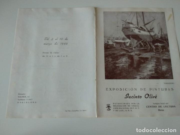 DIPTICO EXPOSICION JACINTO OLIVÉ EN CENTRO LECTURA DE REUS 1946,PATROCINA FALANGE (Arte - Catálogos)