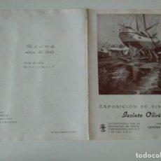Arte: DIPTICO EXPOSICION JACINTO OLIVÉ EN CENTRO LECTURA DE REUS 1946,PATROCINA FALANGE. Lote 136825558
