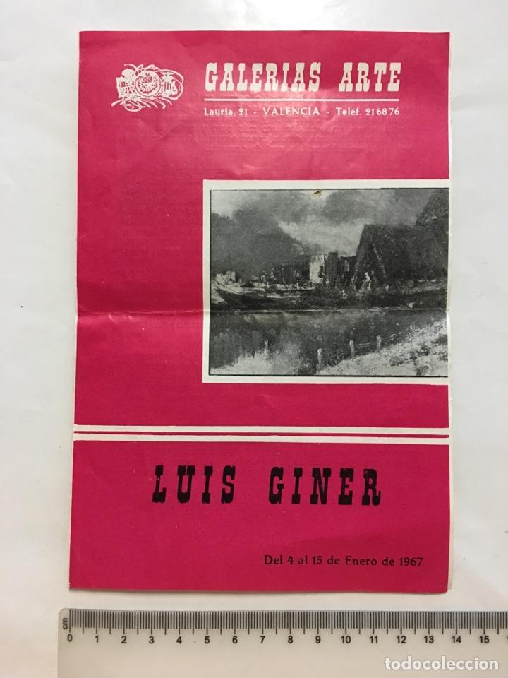 GALERÍAS ARTE. EXPOSICIÓN LUIS GINER. DIPTICO. VALENCIA. ENERO,1967. (Arte - Catálogos)