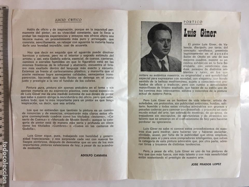 Arte: GALERÍAS ARTE. EXPOSICIÓN LUIS GINER. DIPTICO. VALENCIA. ENERO,1967. - Foto 2 - 141480782
