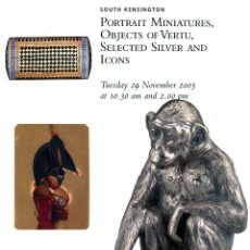 Arte: CHRISTIE'S. PORTRAIT MINIATURES, OBJECTS OF VERTU, SELECTED SILVER AND ICONS.. Lote 142460302