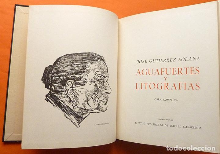 Arte: JOSÉ GUTIÉRREZ SOLANA: AGUAFUERTES Y LITOGRAFÍAS. OBRA COMPLETA - EJEMPLAR NUMERADO - 1963 - Foto 2 - 143623050