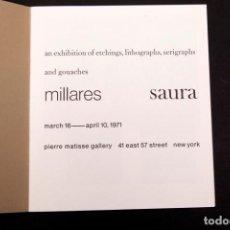 Arte: MILLARES SAURA - 1971 - PIERRE MATISSE NEW YORK. Lote 145167790