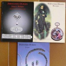 Arte: 3 CATALOGOS DE SUBASTAS DURAN - JOYAS Y RELOGES - 1999-2000. Lote 148921378