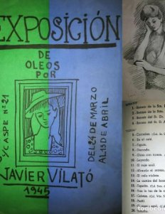 1945 Catálogo Exposición de óleos por Javier Vilató. Galerías Pictoria c/caspe Nº 21
