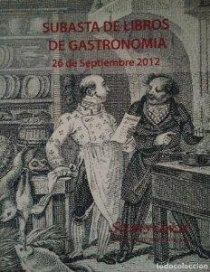2012 Soler y Llach Catálogo de la subasta de libros de gastronomía y cocina