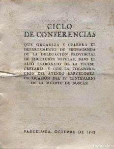 1942 Ciclo de conferencias. IV Centenario de la muerte de Boscán