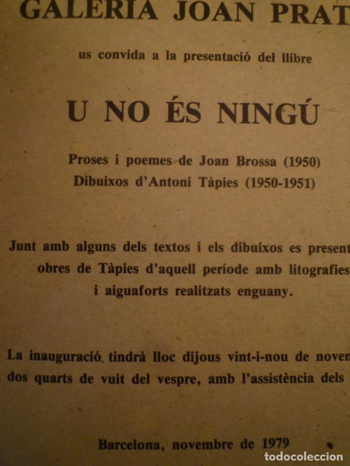 Arte: ANTONI TÀPIES. JOAN BROSSA. U NO ÉS NINGÚ. INVITACIÓN. GALERIA JOAN PRATS. 1979 - Foto 2 - 157401778