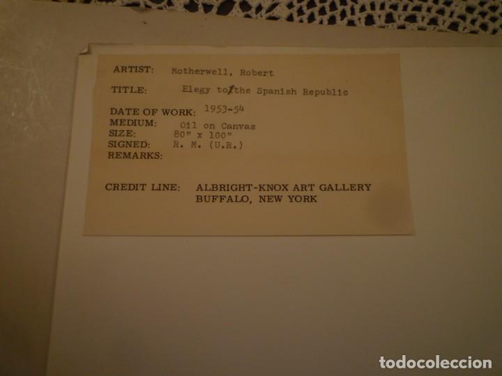 Arte: ROBERT MOTHERWELL. RETROSPECTIVA. MUSEO ARTE MODERNO. MEXICO. C.1975. + 7 FOTOGRAFÍAS. - Foto 15 - 160184414