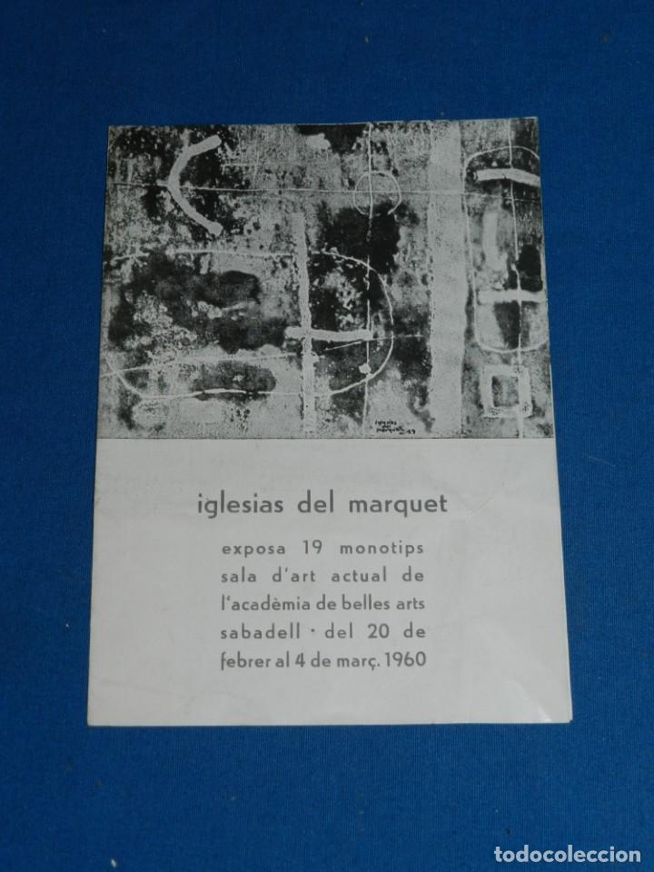 (M) CATALOGO IGLESIAS DEL MARQUET EXPOSA SALA D'ART BELLES ARTS SABADELL 1960 , SANTOS TORROELLA (Arte - Catálogos)