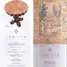 Arte: ISBILYA. SUBASTAS DE ARTE. SUBASTA . JUNIO 2018. DESPLEGABLE ( 10 CARAS). 21 X 10 CMTRS. SEVILLA. . Lote 168607400