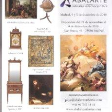 Arte: ISBILYA. SUBASTAS DE ARTE. SUBASTA .DICIEMBRE 2018.DESPLEGABLE ( 10 CARAS). 21 X 10 CMTRS. SEVILLA. . Lote 168607552