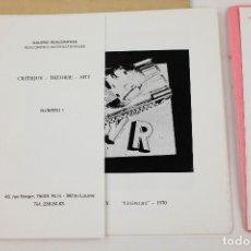 Arte: CATÁLOGO L'ART CONTRE L'IDEOLOGIE, NUMERO 1, 1975, JEAN FRANÇOIS BORY, GALERIE RENCONTRES, PARIS.. Lote 170176136