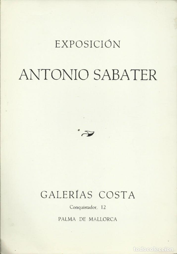 ANTONIO SABATER, GALERÍA COSTA, PALMA DE MALLORCA 1975 (Arte - Catálogos)