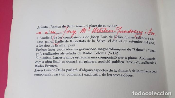 Arte: DE DELÁS - PIANISTA CARLOS SANTOS - 1967 - DIBUJO CUIXART - DÍPTICO - INVITACIÓN - Foto 3 - 172371510