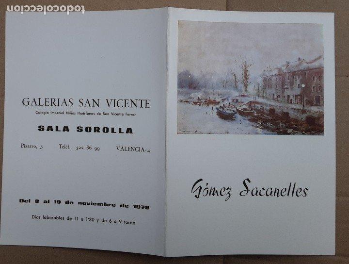 GÓMEZ SACANELLES CATÁLOGO EXPOSICIÓN PINTURA VALENCIA 1979 (Arte - Catálogos)