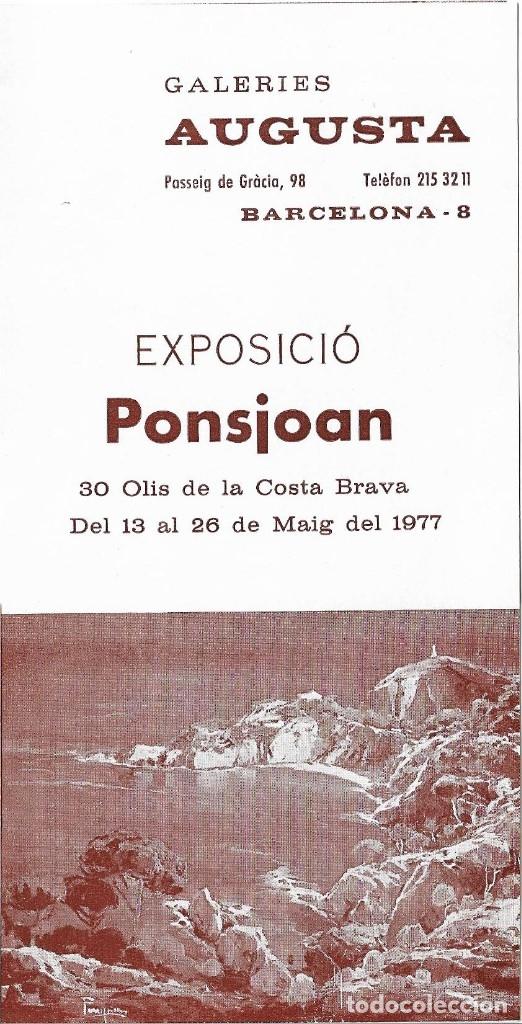 CATÁLOGO EXPOSICIÓN GALERIAS AUGUSTA DE BARCELONA DE FERRAN PONSJOAN. (Arte - Catálogos)