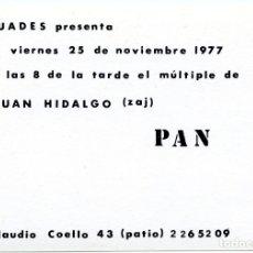 Arte: PRESENTACIÓN DEL MÚLTIPLE, PAN, JUAN HIDALGO, ZAJ.GALERÍA BUADES, NOVIEMBRE 1977. Lote 210651599