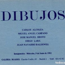 Arte: INVITACIÓN, COLECTIVA DIBUJOS, GALERÍA BUADES JUNIO 1982. Lote 181573251