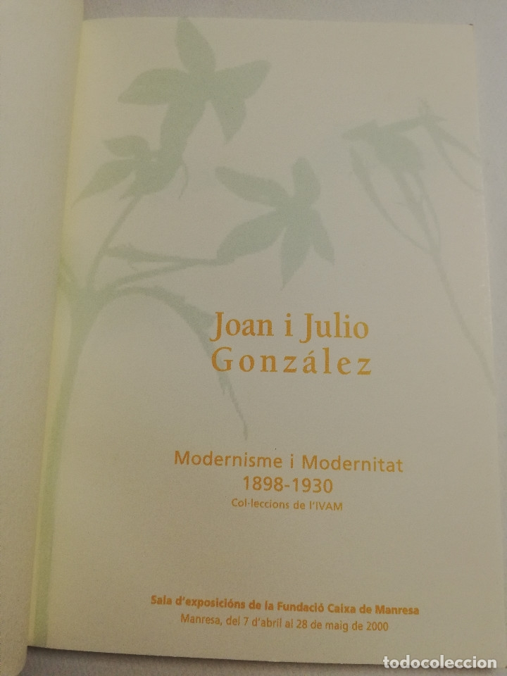 Arte: JOAN I JULIO GONZÁLEZ. MODERNISME I MODERNITAT 1898 - 1930 (FUNDACIÓ CAIXA MANRESA) - Foto 2 - 182110145
