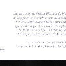 Arte: HOMENAJE A EUGENIO CHICANO. APLAMA. SEPTIEMBRE 2107.. BODEGAS DE EL PIMPI. MALAGA. TARJETA.21X10 CM.. Lote 194287208