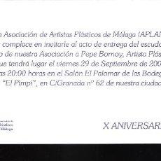 Arte: HOMENAJE. PEPE BORNOY. APLAMA. SEPTIEMBRE 2006.. BODEGAS DE EL PIMPI. MALAGA. TARJETA.21X10 CM.. Lote 194287397