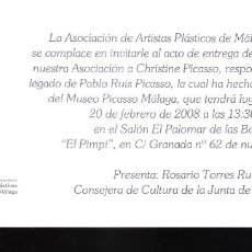 Arte: HOMENAJE. CHRISTINE PICASSO. APLAMA. FEBRERO 2008. BODEGAS DE EL PIMPI. MALAGA. TARJETA.21X10 CM.. Lote 194287571