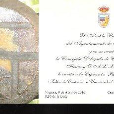 Arte: 25 AÑOS TALLER DE CERÁMICA - UNIVERSIDAD POPULAR DE TORREMOLINOS. ABRIL 2010. TARJETA. 21X10 CM.. Lote 194709691