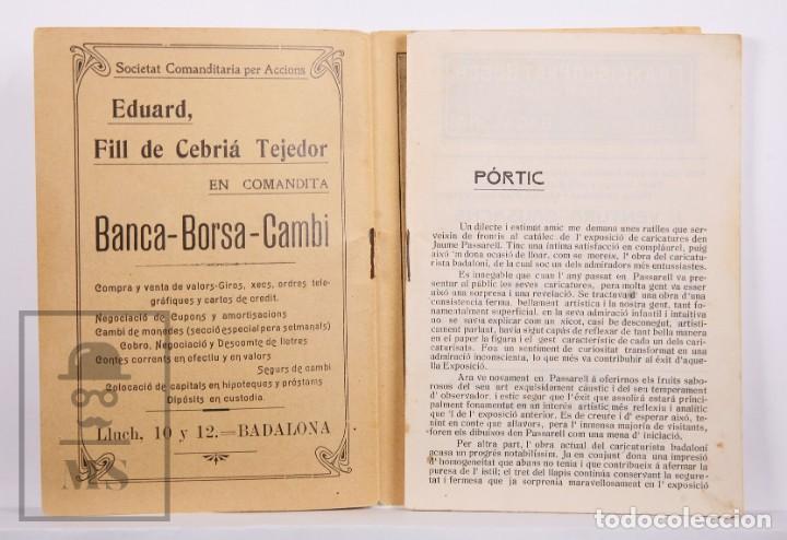 Arte: Catálogo de Exposición Año 1912. Jaume Pasarell, Caricaturas - Publicidad Badalona - Anís del Mono - Foto 3 - 194787707