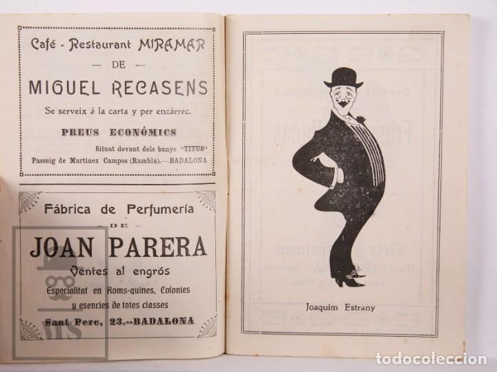 Arte: Catálogo de Exposición Año 1912. Jaume Pasarell, Caricaturas - Publicidad Badalona - Anís del Mono - Foto 4 - 194787707