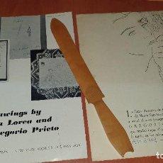 Arte: TRIPTICO, DRAWINGS BY GARCIA LORCA, PAVILLON OF SPAIN Y EXPOSICION GREGORIO PRIETO EN ALBACETE. Lote 195069808