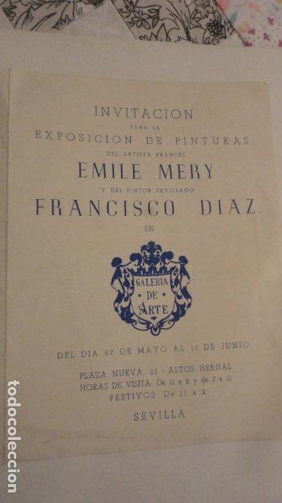 Arte: ANTIGUO DIPTICO.EXPOSICION PINTURAS.EMILE MERY.FRANCISCO DIAZ DIAZ.1949.DIBUJO ORIGINAL A TINTA - Foto 2 - 195145193