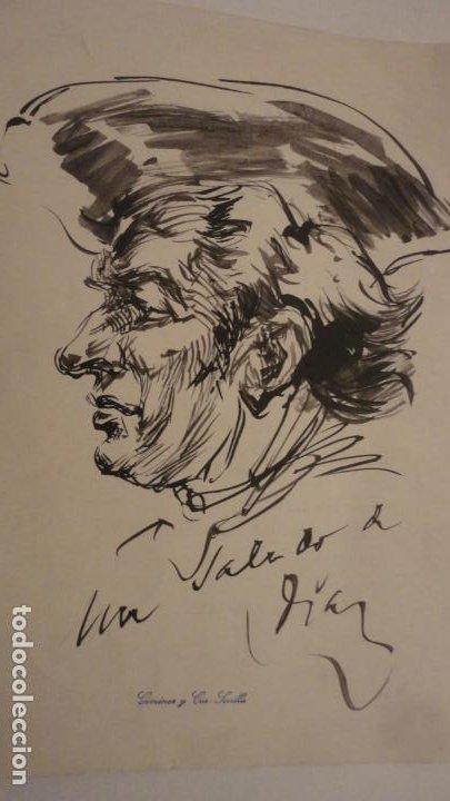 Arte: ANTIGUO DIPTICO.EXPOSICION PINTURAS.EMILE MERY.FRANCISCO DIAZ DIAZ.1949.DIBUJO ORIGINAL A TINTA - Foto 3 - 195145193