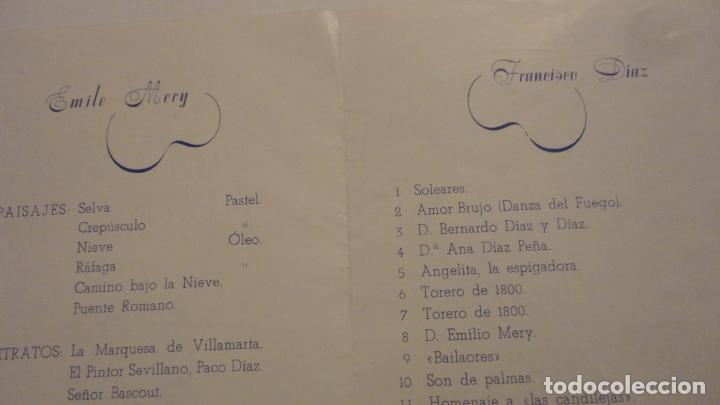 Arte: ANTIGUO DIPTICO.EXPOSICION PINTURAS.EMILE MERY.FRANCISCO DIAZ DIAZ.1949.DIBUJO ORIGINAL A TINTA - Foto 7 - 195145193