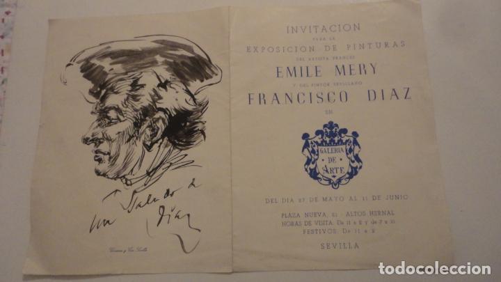 ANTIGUO DIPTICO.EXPOSICION PINTURAS.EMILE MERY.FRANCISCO DIAZ DIAZ.1949.DIBUJO ORIGINAL A TINTA (Arte - Catálogos)