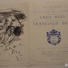 Arte: ANTIGUO DIPTICO.EXPOSICION PINTURAS.EMILE MERY.FRANCISCO DIAZ DIAZ.1949.DIBUJO ORIGINAL A TINTA . Lote 195145193