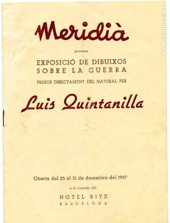 CATÁLOGO EXPOSICIÓN DIBUJOS SOBRE LA GUERRA LUIS QUINTANILLA (1937) (Arte - Catálogos)