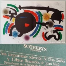 Arte: LITOGRAFIA DE MIRO + SOTHEBY´S: HISTÓRICA SUBASTA DE OBRA GRÁFICA DE MIRÓ EN 1989. Lote 181771966