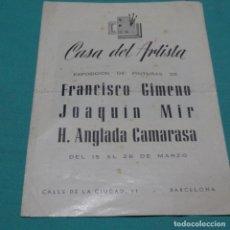 Arte: CATÁLOGO DE ARTE CASA DEL ARTISTA.GIMENO,MIR Y CAMARASA.. Lote 198678916