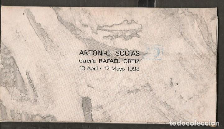 TARJETAS: ANTONIO SOCIAS. SOBRE Y SEIS TARJETAS OBRAS DEL AUTOR. SEVILLA, 1988. (B/A58.1) (Arte - Catálogos)