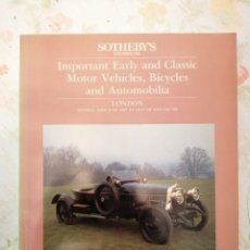 Arte: CATALOGO SOTHEBY'S IMPORTANT EARLY AND CLASSIC MOTOR VEHICLES BICYCLES AND AUTOMOBILIA. Lote 218496621